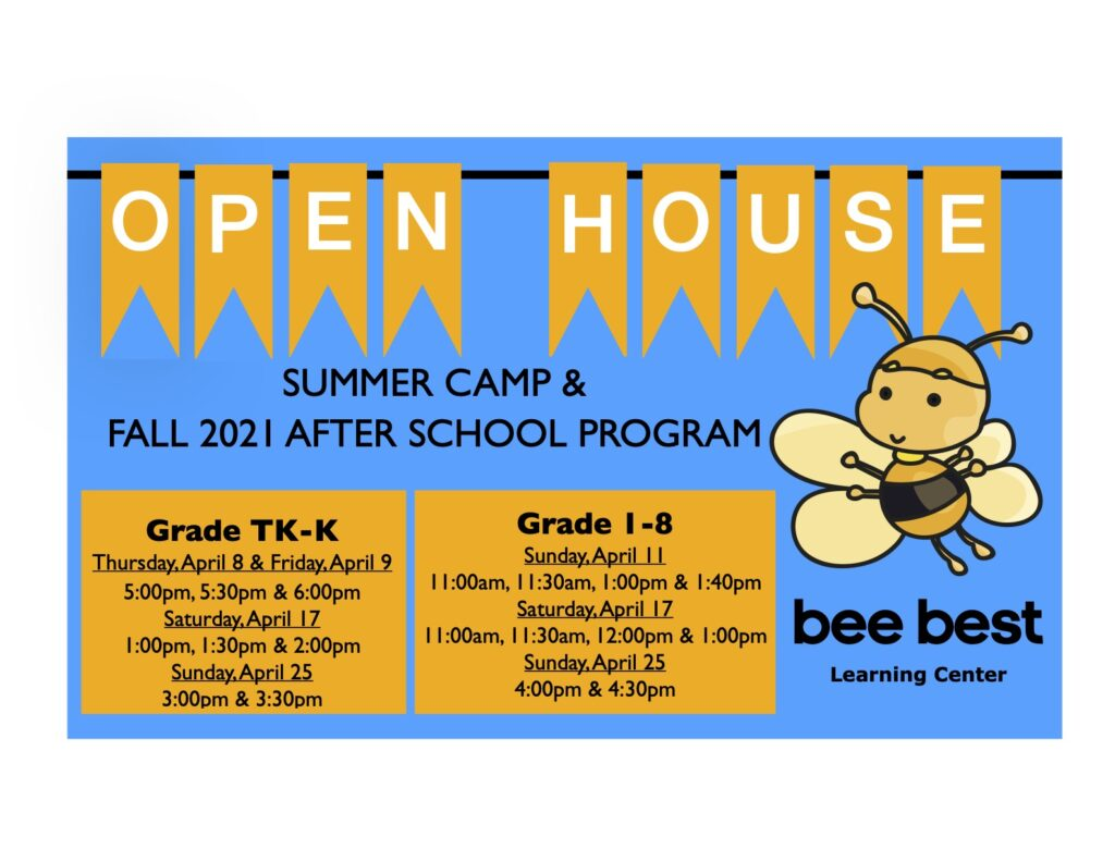 Summer Camp & Fall 2021 After School Program OPEN HOUSE in April 8-9, 11, 17 and 25